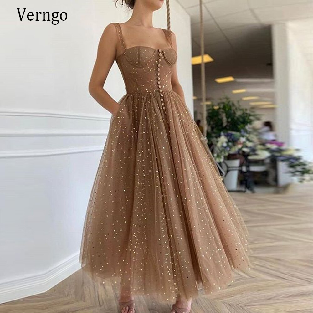 Verngo Vintage Sweetheart A Line Formal Party Dress Long Evening Gown Glitter Sparkly Dot Tulle Homecoming Dress Vestidos fiesta
