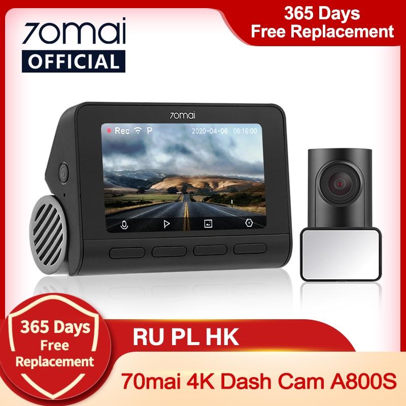 70mai A800S Dash Cam 4K Built-in GPS ADAS Real 70mai 4K A800 Camera UHD Cinema-quality Image 24H Parking Front & Rear Cam 140FOV