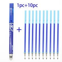 (1 + 10 recharges) encre magique effaçable stylo neutre école étudiant bureau papeterie écrire 0.5mm encre bleue stylo correcteur et recharge