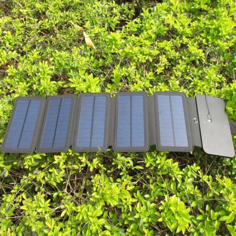 Cargador plegable de células solares de energía Solar de 10W, dispositivos de salida USB, paneles solares portátiles de aventura al aire libre para carga de teléfono
