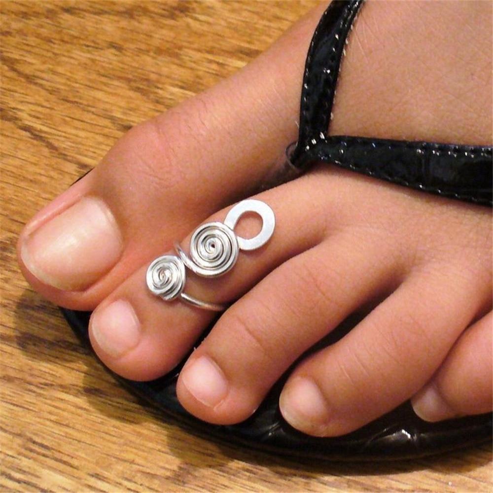 Ювелирные-изделия-ручной-работы-регулируемое-кольцо-на-палец-ноги-женские-красивые-стильные-серебристого-цвета-Бохо-trop-маленький-размер