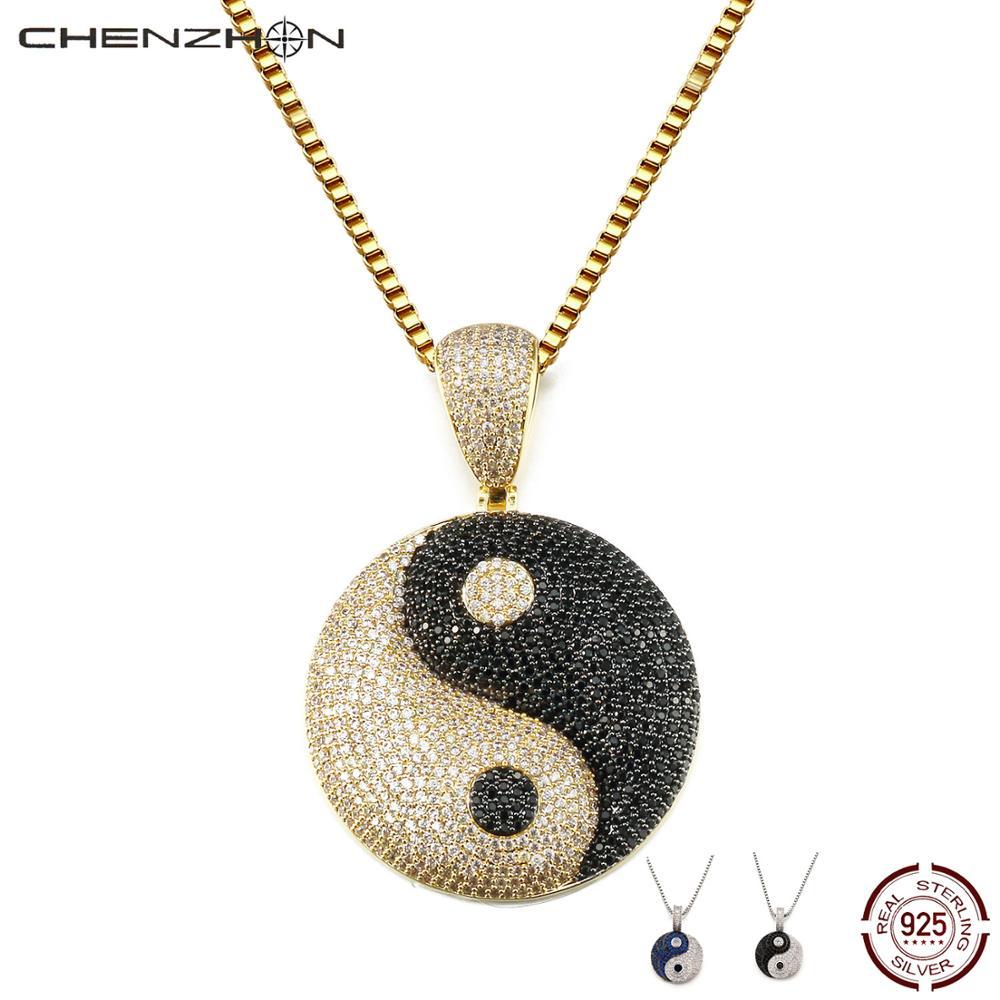 CHENZHON Tai Ji design Pendants Necklaces For Men's pendant Women Supreme 925 Sterling Silver Nice Jewelry Gift Box Pack
