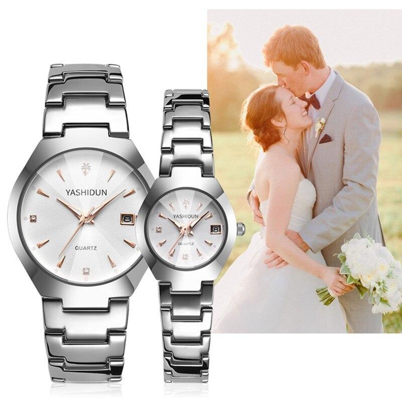 YASHIDUN Couple Watch 2020 Mens Watches Luxury Quartz Watch Women Clock Ladies Dress Wristwatch Fash