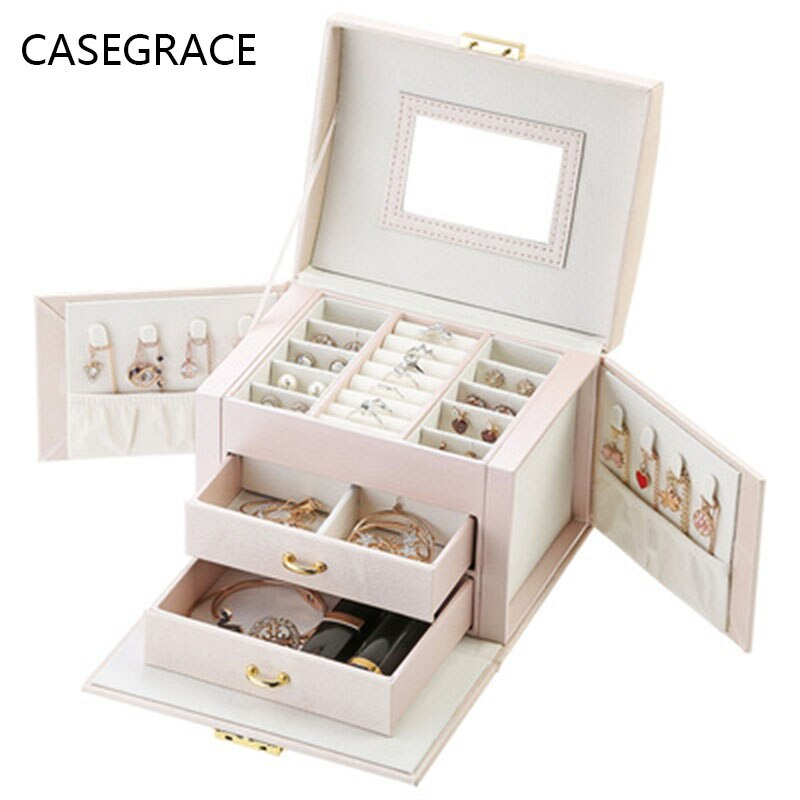 new jewelry box custom european large capacity jewelry box multi face open jewelry storage box pu leather earrings box spot CASEGRACE Jewelry Storage Box European-style Korean Pu Leather Drawer Jewelry Cosmetic Box Five-layer Large-capacity Jewelry Box