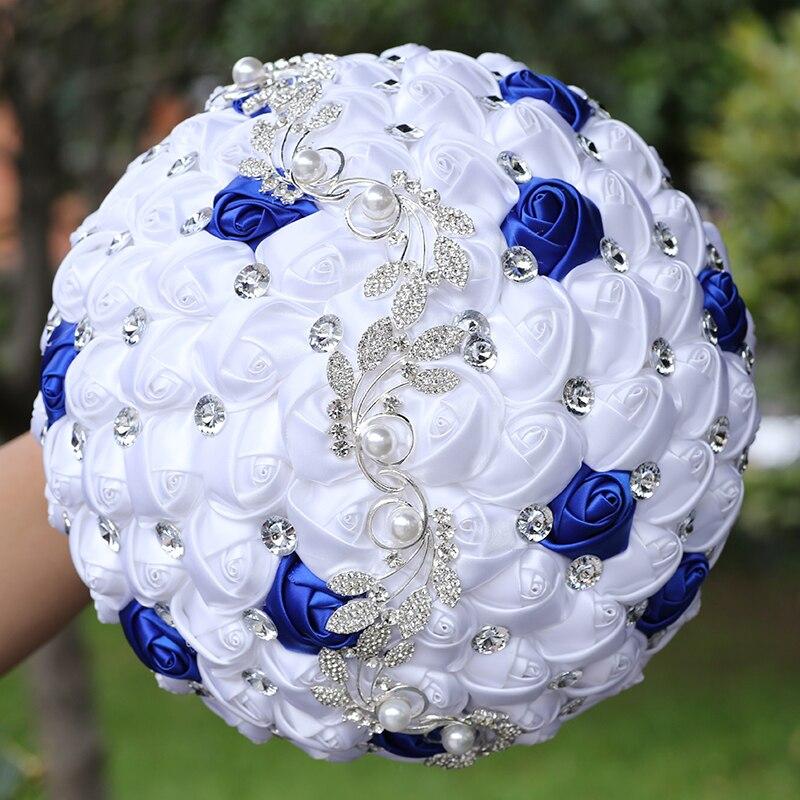 رائجة البيع العروس وصيفة الشرف عقد باقة نقية الأبيض الأزرق الملكي الساتان روز أزرار ماسية باقة لتقوم بها بنفسك الدعائم الزفاف W669