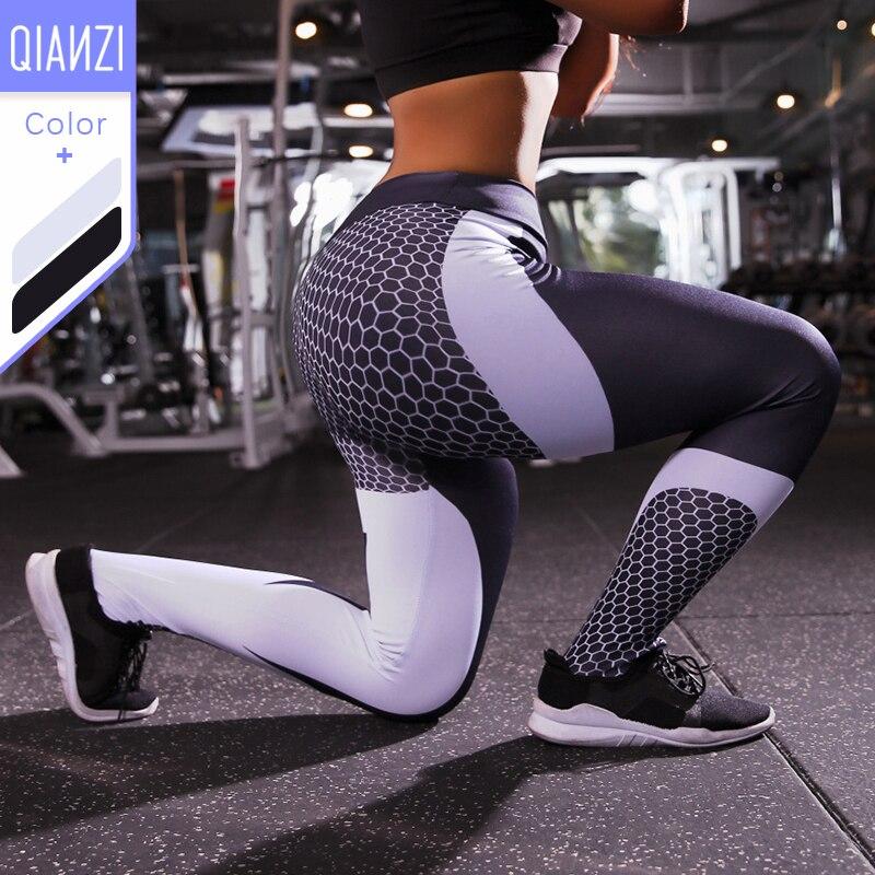QIANZI Sport Fitness Leggings Women Mesh Print High Waist Legins Femme Girls Workout Yoga Pants Push Up Elastic Slim Pants