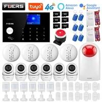 FUERS 4G Wifi GSM systemes dalarme securite Tuya Alexa App Wifi camera clavier tactile intelligent maison systeme dalarme antivol alarme de securite