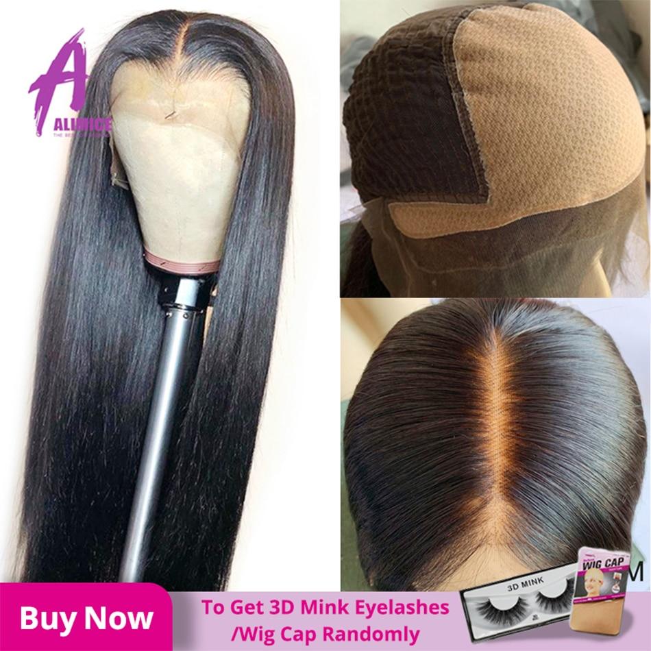 Pelucas de cabello humano con parte Frontal de encaje 13*4 sin pegamento, cabello lacio brasileño de densidad 150%, pelucas de cabello Frontal Alimice Remy