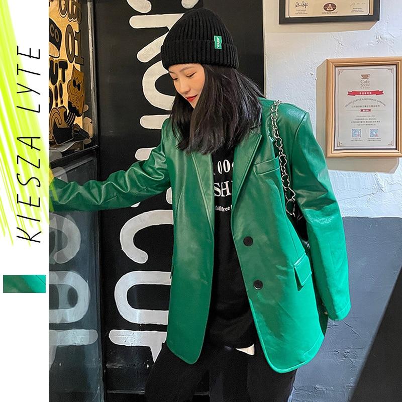سترة جلدية نسائية من البولي يوريثان ، ملابس الشارع ، نمط كوري ، كاجوال ، أخضر ، أسود