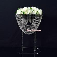 Center de table de mariage acrylique cristal   Support de gâteau de mariage en cristal/support de fleur acryli/support de mariage 3 pièces/lot