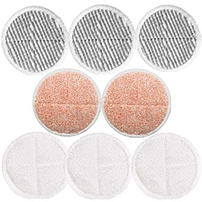 Rechange pour Bissell Spinwave 2039A   8 paquets de tampons pour vadrouille, inclus 3 coussinets souples + 3 tampons à récurer + 2 tampons de gommage lourds