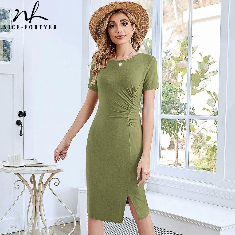 Женское платье миди Nice-forever, повседневное пляжное облегающее платье, лето шикарный зеленый