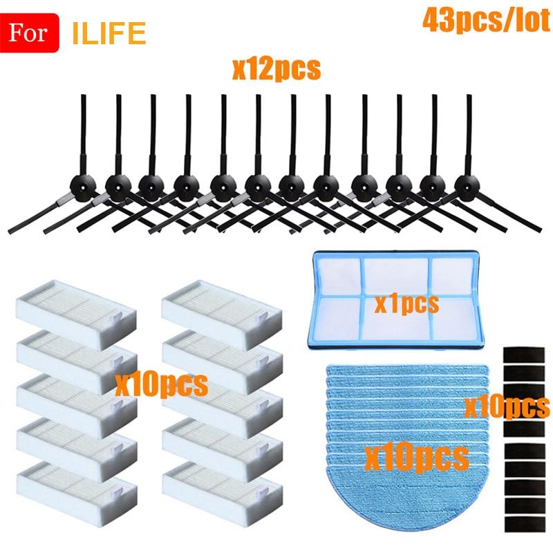 Para ILIFE V50 V55 V5 V5s V3 V3s V5 Pro X5 V5s Pro de piezas de limpiador Cepillo Lateral filtro Hepa Filtro de paño de mopa de filtro de polvo de magia pasta