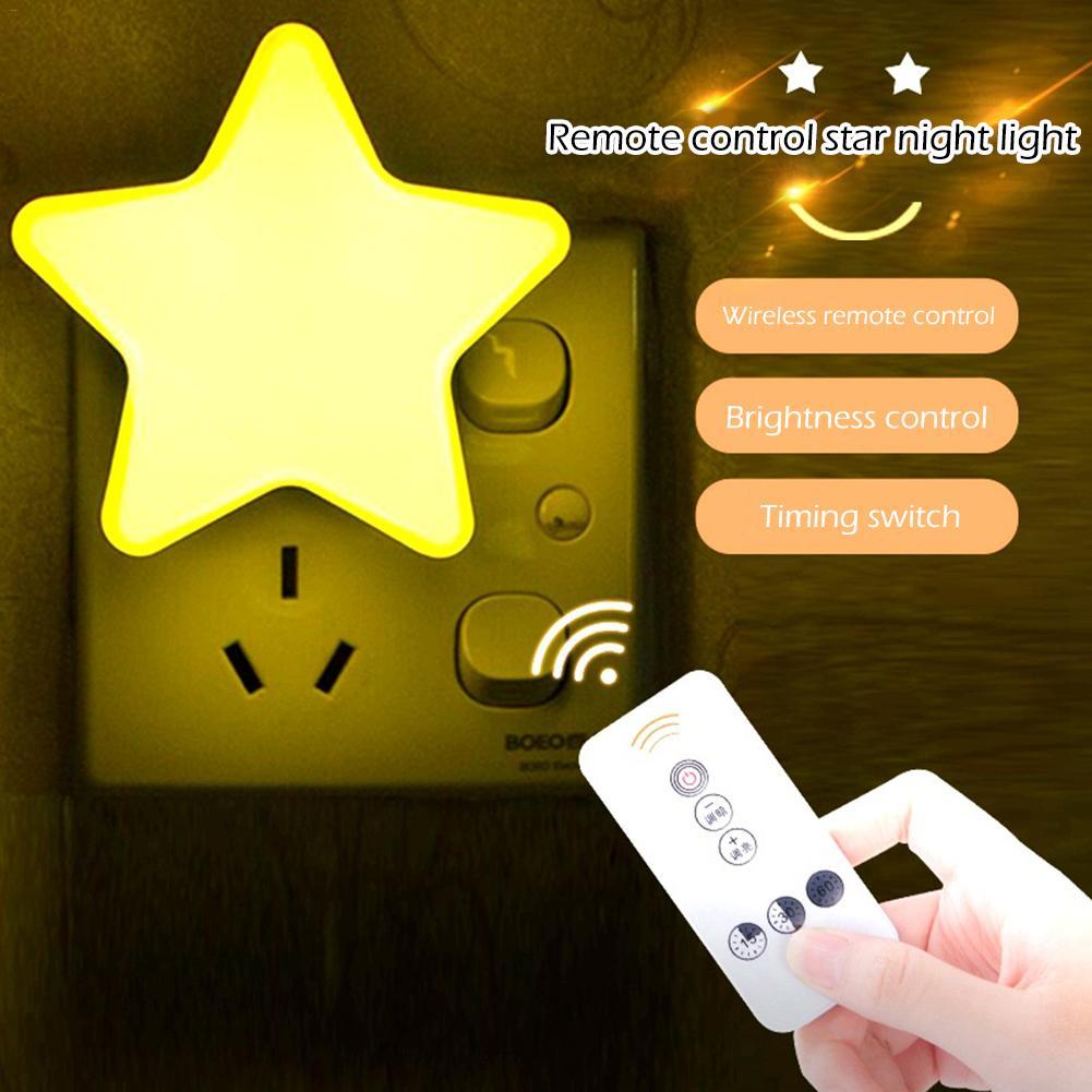 Luz LED de noche con Control de Sensor, lámpara regulable con Control remoto, enchufe europeo de 110V/220V para niños, hogar, dormitorio, regalo para niños