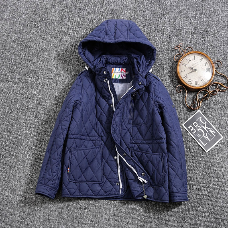 Jacket for boys 2021 Europe Russia Spring Autumn Thick Parker Coat Blue coats with a hood height110-134CM 4A-8A G307
