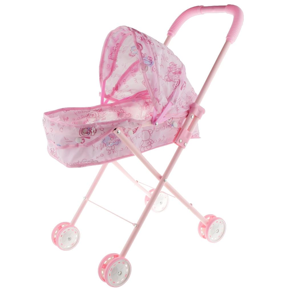 Rose bébé poupée poussette pliable chariot pépinière meubles landau enfants jouets