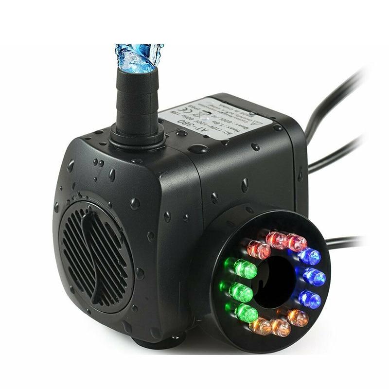 Bomba sumergible para fuente de agua de 15W con 12 luces LED para acuario, estanque, piscina y jardín