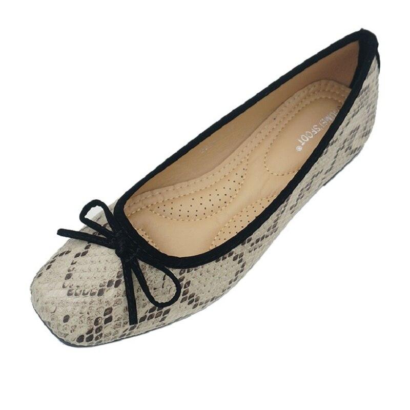 حذاء باليرينا جلد الثعبان للنساء ، حذاء باليرينا بدون أربطة بمقدمة مستديرة ، حذاء موكاسين غير رسمي للحوامل