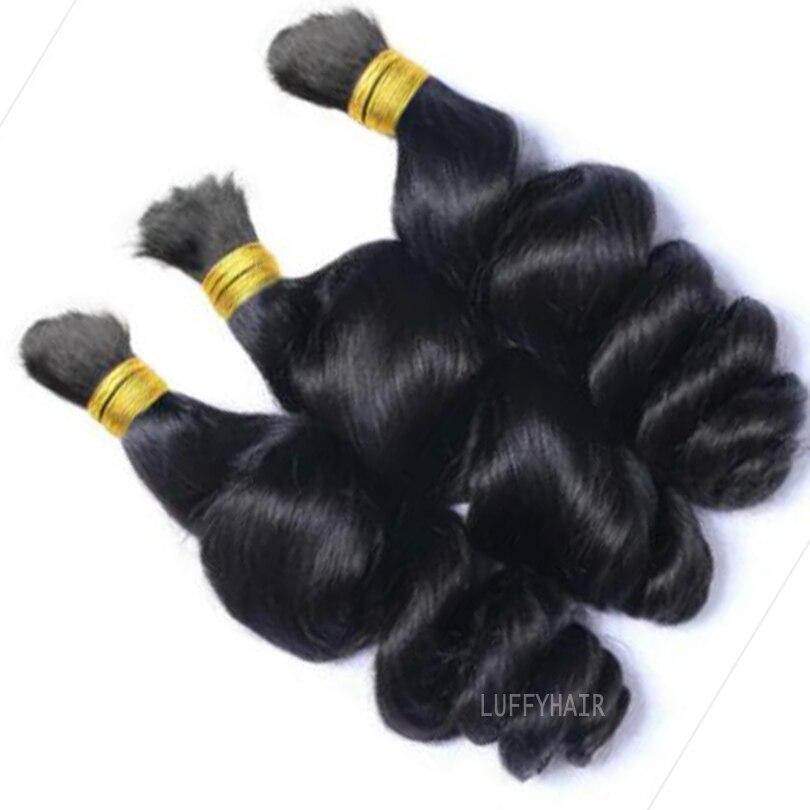 Надувные волнистые волосы для плетения, 100% Необработанные бразильские человеческие волосы, пучки для наращивания, 3 шт./лот