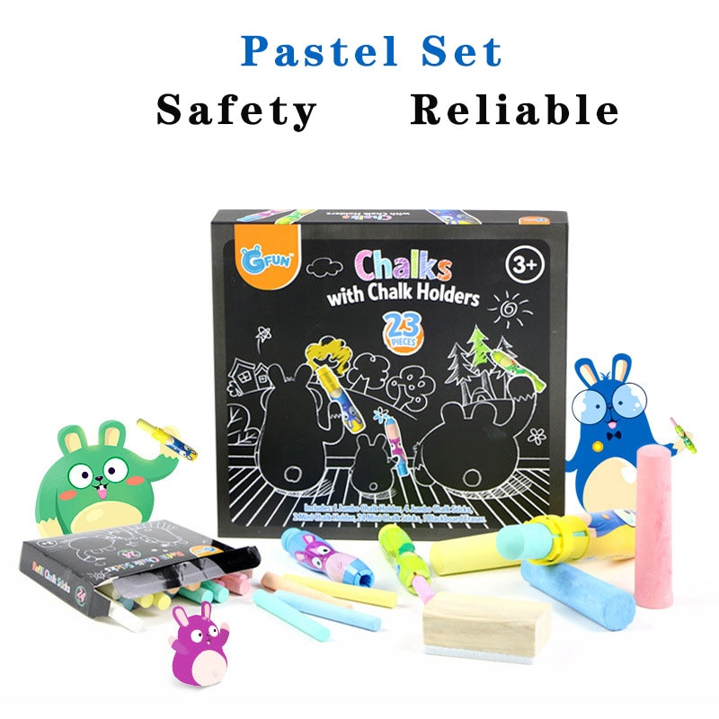 28 children's Color Chalk Set Kindergarten Outdoor Environmental Protection At The Picture Recognition Education Graffiti Pen