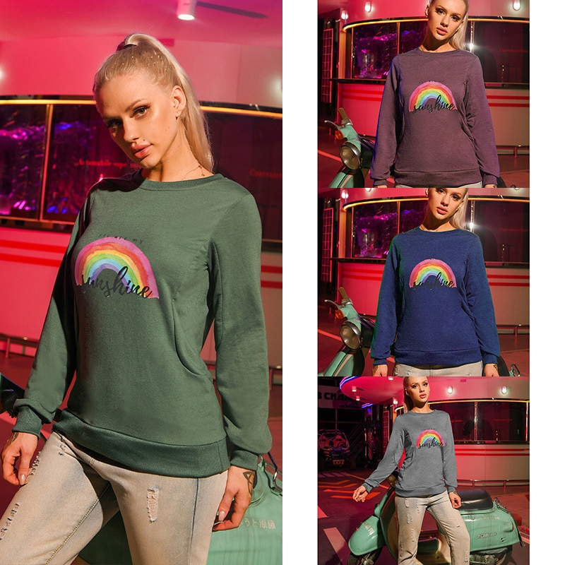2020 fashion high Street slimming women's casual rainbow print  with round neck and long sleeve head letter printing sweatshirt girls rainbow print sweatshirt