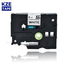 9mm TzeS221 Black on White Laminated Label Tape strong adhesive label tapes Tze-S221 Tze S221 tze s221 tze-s221 for P-touch PT