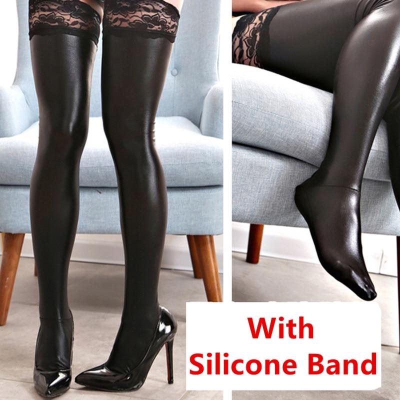 Кружевные силиконовые сексуальные латексные чулки, женские черные высокие чулки до бедра из искусственной кожи, женские длинные чулки, юбк...