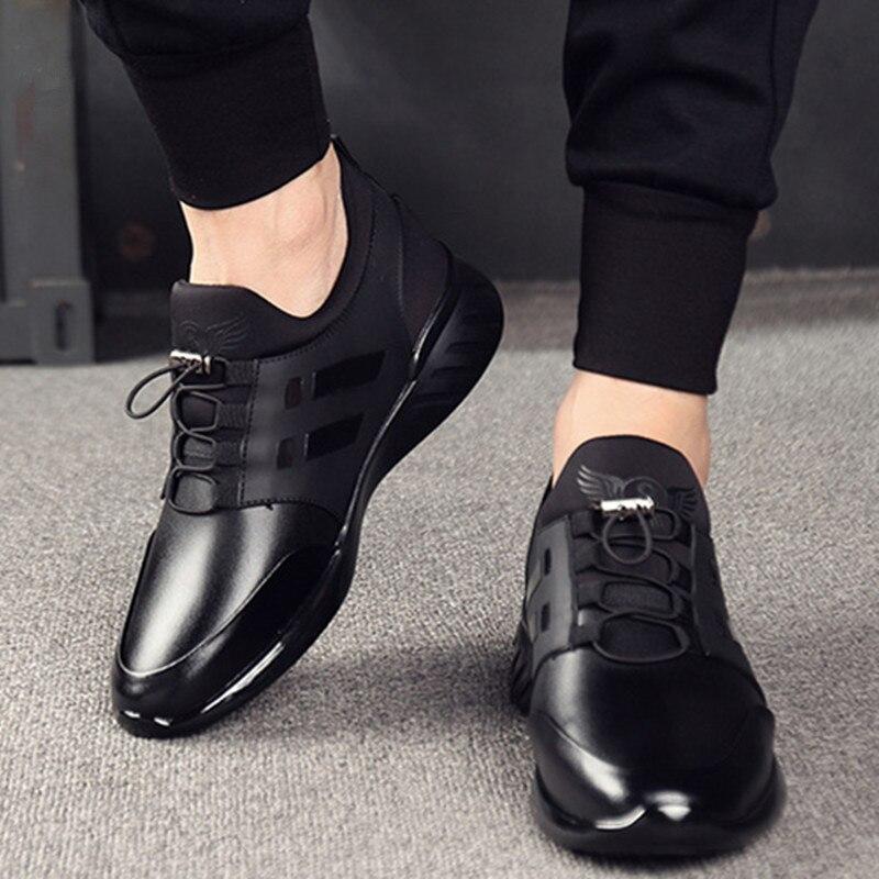Sapatos de Couro do Plutônio Acima da Altura Homens Casuais Rendas Aumento 8cm Masculino Tênis Cor Sólida Respirável Negócios Sapatos Vulcanizar 6cm