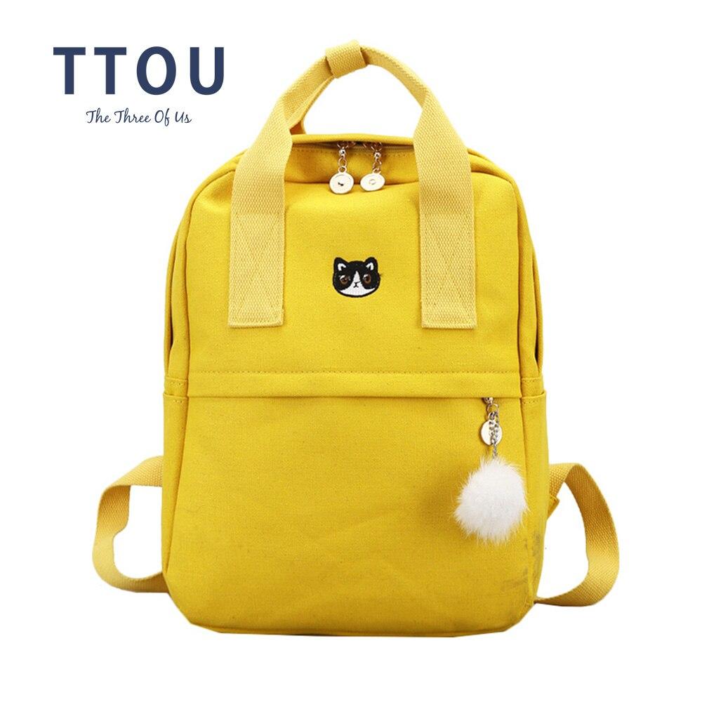TTOU Japón y estilo de Corea Harajuku lindo gato bordado corona mochila de lona encantador estilo Preppy Satchel escuela bolsa para niñas