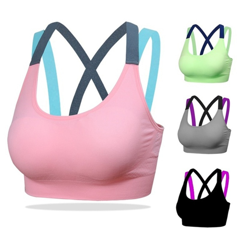 AliExpress - Women Breathable Sports Bra Absorb Sweat Shockproof Padded Sports Bra Top Athletic Gym Running Fitness Yoga Sports Tops