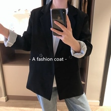 Chic Women Loose Blazer Vintage Single Breasted Oversized Coat Female Long Sleeve Outfits for Autumn