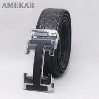 2021 brand luxury men belts genuine leather crocodile pattern lettern buckle belts for men business fashion strap