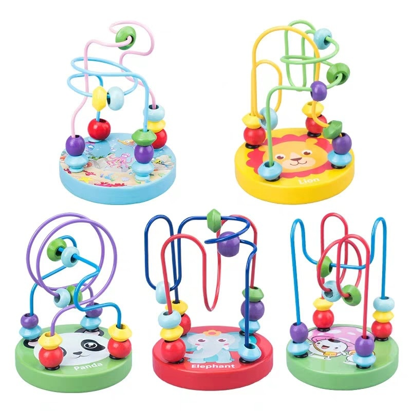 AliExpress - Boy Girls montessori Wooden Toys Wooden Circles Bead Wire Maze Roller Coaster Educational Wood Puzzles toddler educational toys