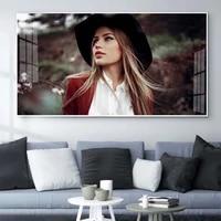 Figure peinture a lhuile avec chapeau blonde fille art toile peinture salon couloir bureau decoration murale