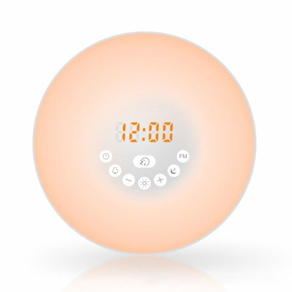 Reloj despertador Led luz de ambiente de noche simulación inteligente amanecer despertador Luz de atardecer sin mangas luz de noche colorida
