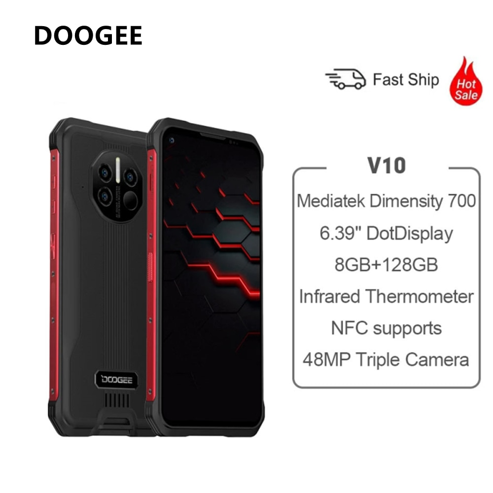 DOOGEE V10 Dual 5G Global Version Rugged Smartphone 8GB 128GB Android 11 48MP Rear Camera 8500mAh 33W Fast Charging Phone NFC
