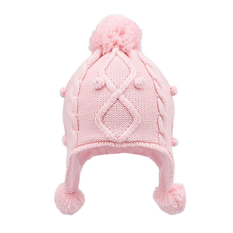 Gorro de invierno para niña con orejeras de lana gorro de Otoño de punto cálido chico pompón de algodón rosa para esquiar accesorio al aire libre para bebé pequeño