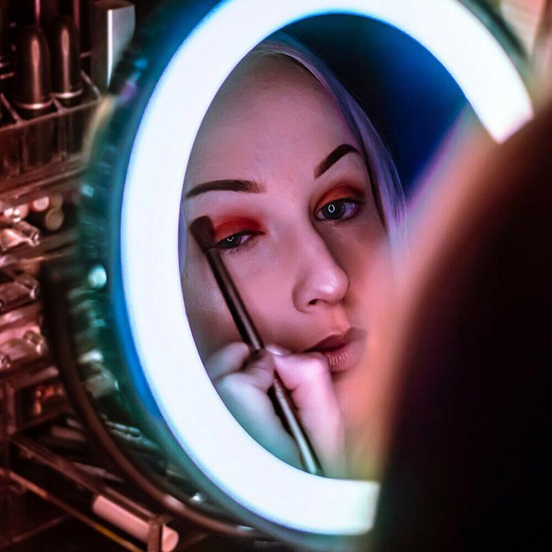 10x led lupa luz espelho de maquiagem espelho vaidade do banheiro espelho de viagem com ventosa forte ajustável led espelho de maquiagem