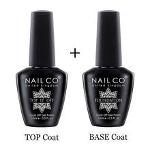 NAILCO Basis Und Top Coat Gel Nagellack 15ml UV LED Lampe Semi Vernis Permanent Nail art Tränken weg hybrid Lacke