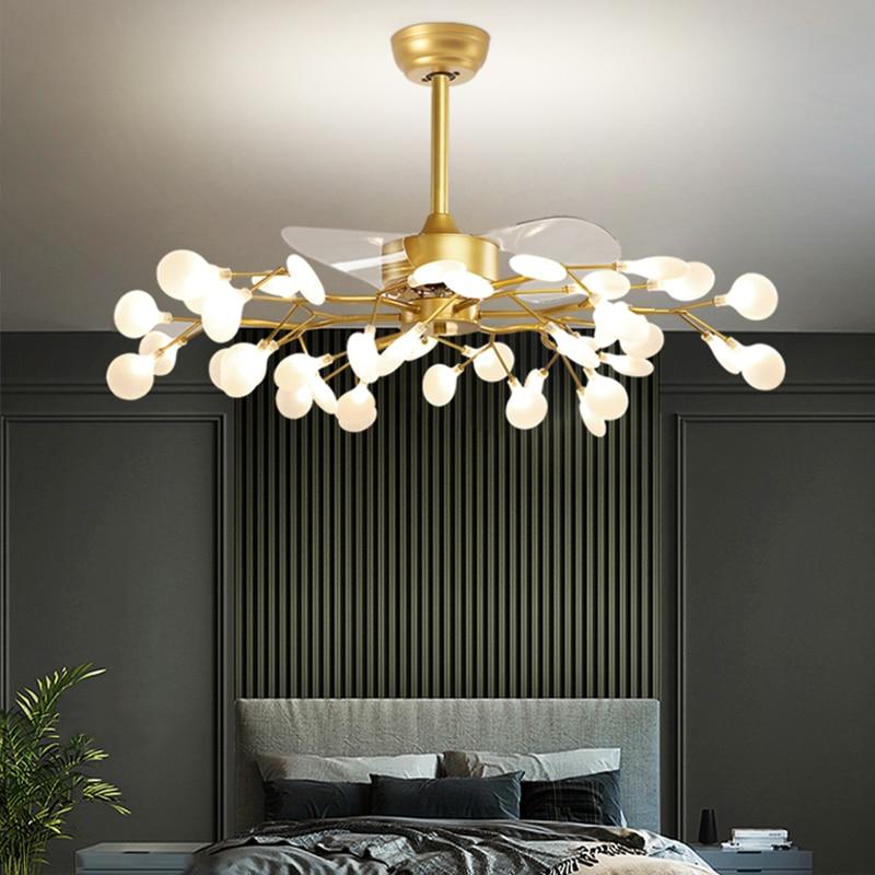Nordic ventilador de teto lâmpada vagalume luzes pingente sala estar luz luxo moderno ventilador elétrico restaurante luz do ventilador doméstico