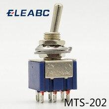 5 개/몫 MTS-202 네이비 블루 6 핀 DPDT ON-ON 미니 6A125VAC 소형 토글 스위치