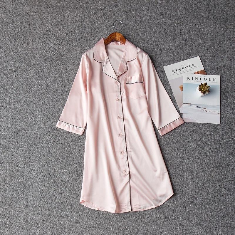 Camisa de noite sexy para o sexo feminino sleepwear nightdresscurto homewear roupas para casa botão requintado casual cetim nightwear