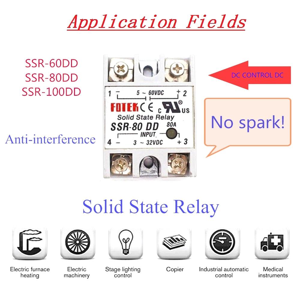 SSR DD 60A 80A 100A Single Phase DC Control DC Heat Sink 3-32VDC To 5-220VDC SSR-100DD 60DD 80DD Solid State Relay Module relay недорого
