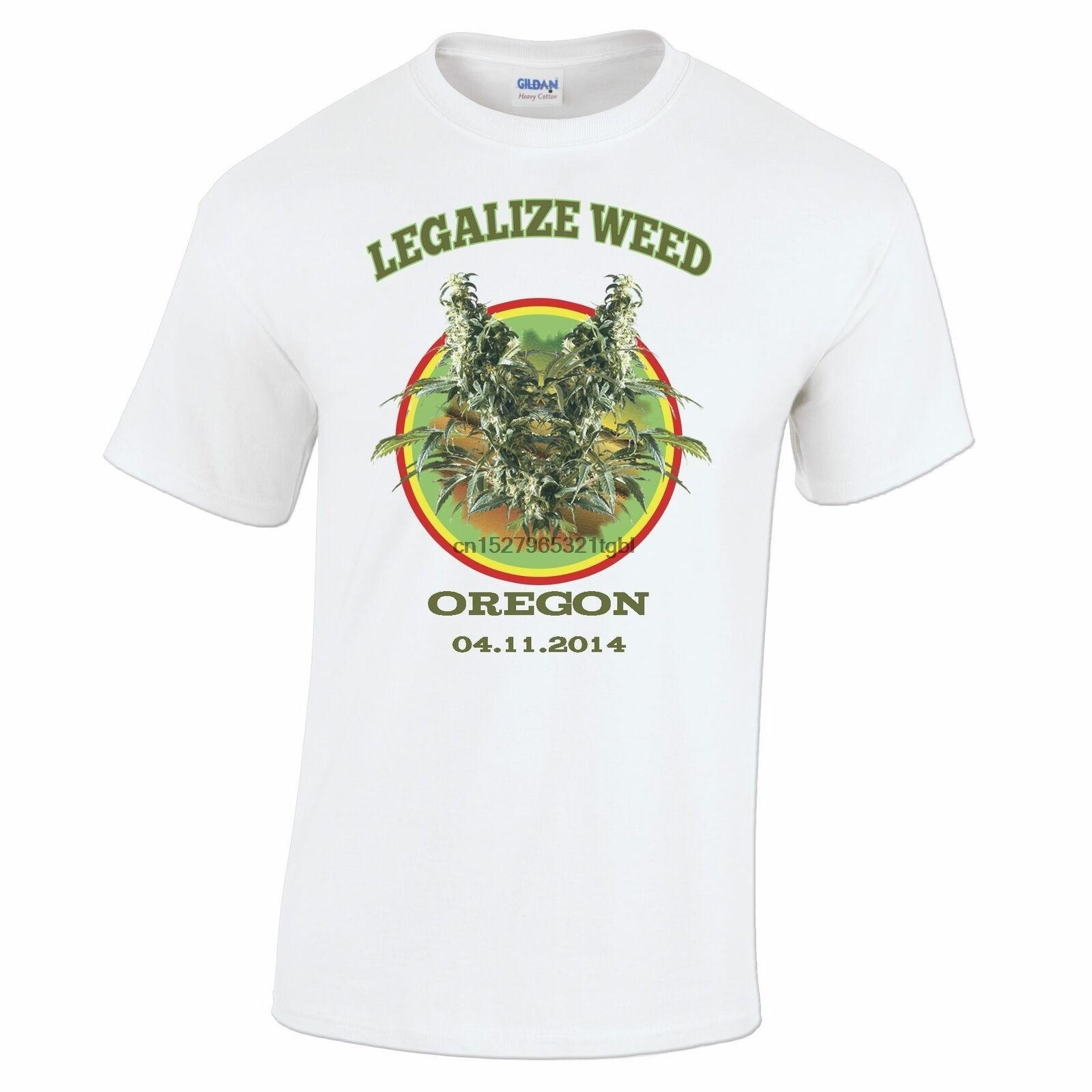 Harajuku streetwear camisa hombres camiseta Legalize Weed Oregon eslogan Harajuku streetwear camisa hombres Smoking Pot