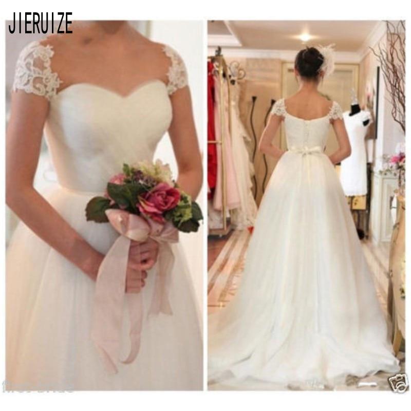 JIERUIZE Vintage blanco vestidos de novia mangas casquillo aplique amor encaje espalda A línea vestidos de boda Robe de mariage