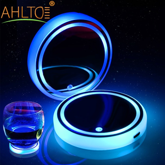 2X Car Dome LED Cup Holder Automotive Interior Lamp USB Multi- Colorful Atmosphere Light Drink Holder Anti-Slip Mat Product Bulb