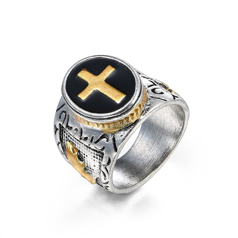 Gran oferta, anillo con símbolo de cruz santa de dos tonos, dorado, plateado, dorado, plateado, Vintage, de 7 a 15, cóctel religioso cristiano Jesús, San Valentín