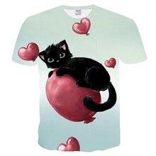 T-shirt avec dessin animé chat noir et blanc homme/femme imprimé en 3d, style chat, Hip Hop et à la mode, haut estival