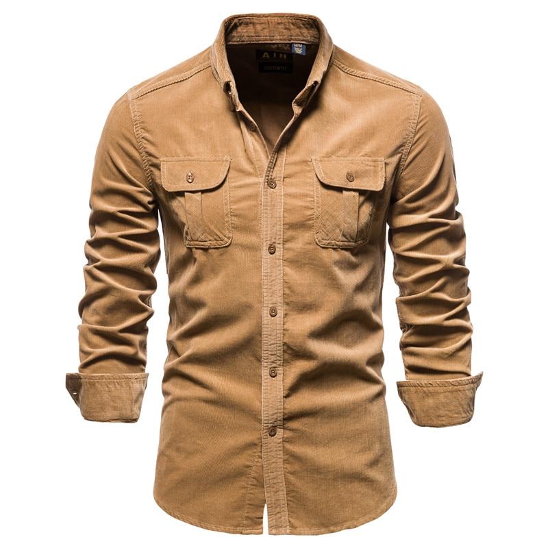 Новая однотонная Вельветовая Мужская рубашка, однобортная Мужская рубашка из 100% хлопка, деловая Повседневная Модная приталенная рубашка д...