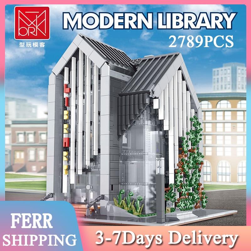 2021 строительные блоки MOC современная библиотека, собранные наборы, 011001 шт., модель архитектурные кубики, детские игрушки-конструкторы, подар...